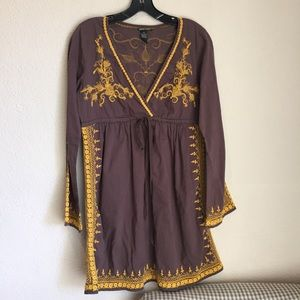 Lucky brand bell cotton vneck embroidered dress
